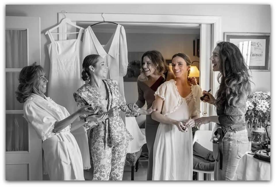 Trabajo de maquillaje de novia y madrina e invitadas. Luisa Portales Make Up profesional